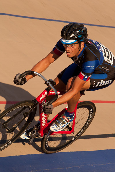 Robert Bodamer in turn 3 on the way to a third place finish in the Mens 45-49 Points Race.