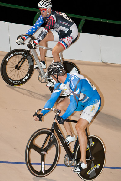 Andrew LaCorte is watched by Allen Vugrincic during their match sprint...