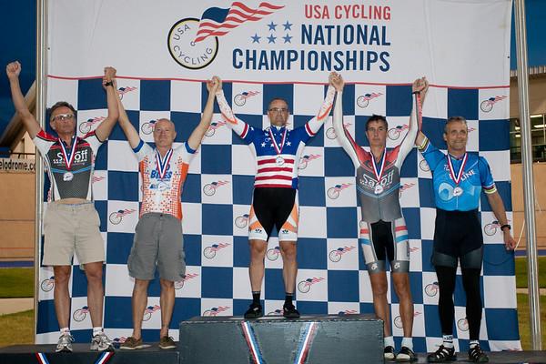 Mens 50-54 2km TT Podium - L to R - Christopher Regan, Kurt Bickel, Russell Murphy, Robert Black and Scott Butler