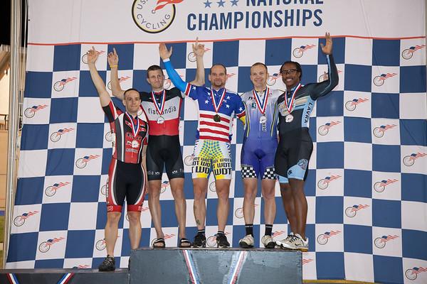 Mens 30-34 Sprint Podium - L to R - Anthony Mocella, Jeffrey Whiteman, Jonathan Fraley, Michael Giem and Phillip Watford