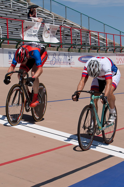 Fran Rudy takes this sprint at the line by about a half a wheel over Patrick Whelan.