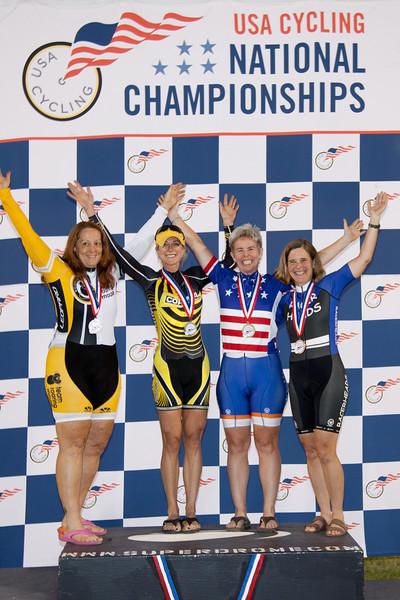 Womens 50-54 Sprint Podium - L to R - Cathy Morgan, Deb Matz, Ann Marie Love, and Nancy Jones