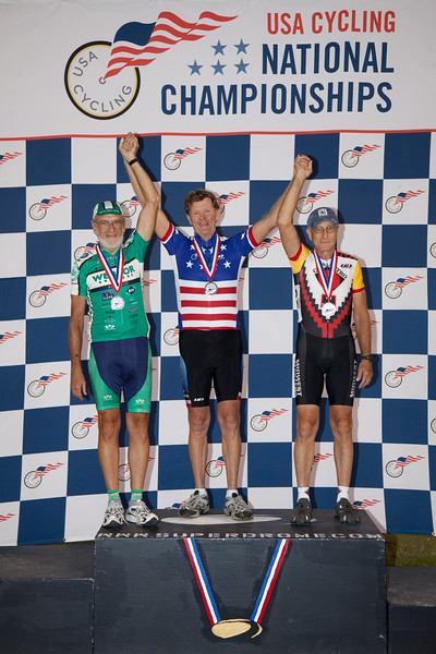 Mens 70-74 Points Race Podium - L to R - Jim Turner, Skip Sperry, and Robert Mylls