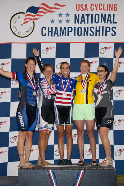Womans 35-39 Points Race Podium - L to R - Cindi Vargas, Christine D'Ercole, Stacy Appelwick, Heather VanValkenburg and Colleen Brown