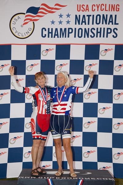 Women 65-69 Sprint Podium - Julie Lockhart and Bonnie Woodbury