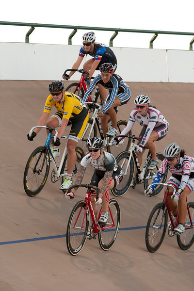 The womens points race also was a combined field.  contested as the lights filled in for the setting sun.