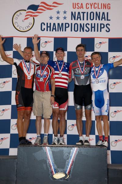 Mens 50-54 Points Race Podium - L to R - Joseph Paulson, Mark Sommers, Lawrence Nolan, Robert Black and Joseph Paulson