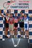 Mens 50-54 Points Race Podium - L to R - Joseph Paulson, Mark Sommers, Lawrence Nolan, Robert Black and Joseph Paulson