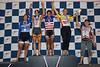 Womens Sprints 40-44 Podium - L to R - Stephanie Hsieh, Kimberly Edwards, Suzanne Goodwin, Gea Johnson and Olga Weeks