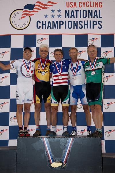 Mens 60-64 Sprint Podium - L to R - Jerry Shafer, Richard DiGennaro, Larry Wolff, Barry Messmer and Mark Rodamaker