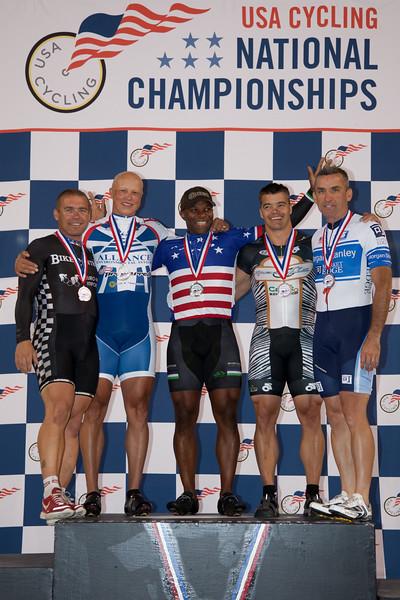 Mens Sprint 45-49 Podium - L to R - Brian Abers, Matthew Diefenbach, Kirk Whiteman, Matthew Diefenbach and Paul Drees
