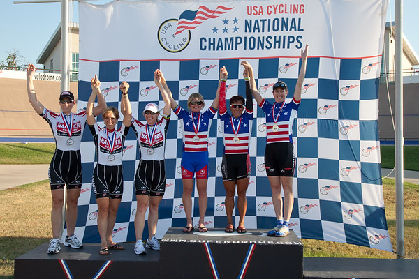 Women's 30+ Team Pursuit Podium - Teams L to R - Team Hammer Nutrition and Good Will