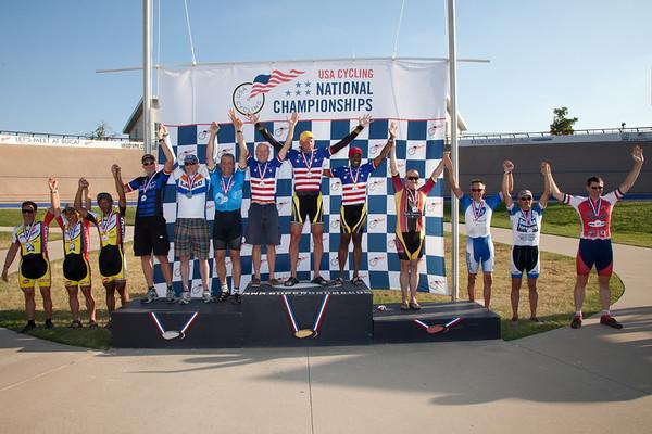 Men's 50+ Team Sprint Podium - Teams L to R - South Bay Wheelmen, Richardson Bikemart, C-Revolution, Eddie B's Boys and Last Minute