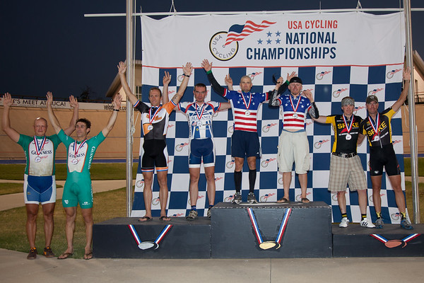 Men's 30+ Madison Podium - Teams L to R - Guinness Cycling Team, Team Full Gas, Grand Speedfix and Team 7-11