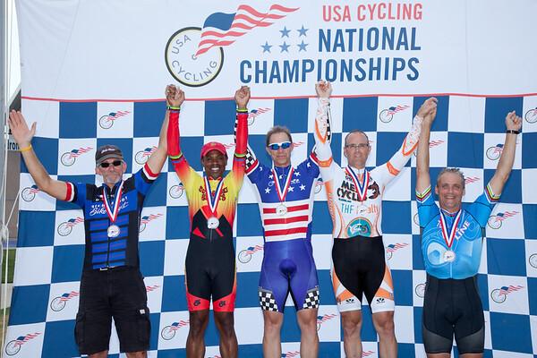 """Men's 50-54 500m TT Podium - L to R - Craig """"Yo"""" Erickson, Alphonso Whaley, Richard Voss, Russell Murphy and Scott Butler"""