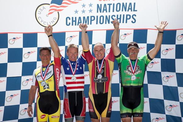 Men's 55-59 500m TT Podium - L to R - Steven Sawelson, Bill Ziegler, Michael McCue and Frank Mesi