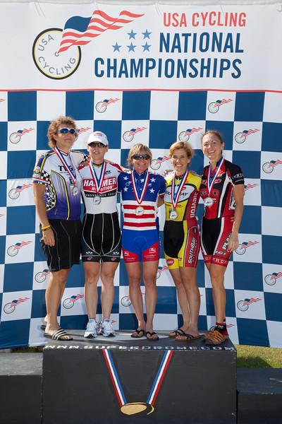 Women's 45-49 500m TT Podium - L to R - Janet Lischer, Cj Boyenger, Annette Williams, Tara Unverzagt and Brandi Lafleur