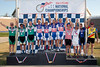 Men's 60+ Team Pursuit Podium - Teams L to R - Alto Velo Racing Club, Vic's Espresso/Peerless Tyre and Wall-E