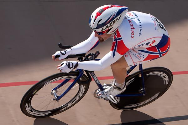 Matthew Haldeman powers into turn two during his Kilo ride.