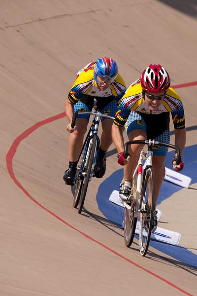Team Strada Racing Club's team sprinters exit turn four.