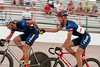 Chris Carlson slings Curtis Tolson to help propel Team Richardson BikeMart to the victory in the Men's 45+ Madison.