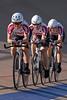 Team Hammer Nutrition heads towards turn one during their team pursut effort.