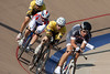 Team 3 Guys & Wes try to hold their line as they exit turn four during the team pursuit.