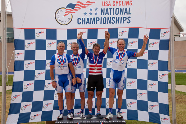 Mens 60-64 2km TT Podium - L to R - Dennis Hastings, Barry Messmer, Larry Wolff and Paul Mack