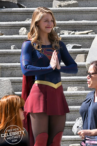 Melissa Benoist Fighting The Elements On Set Of The Supergirl Finale, National City