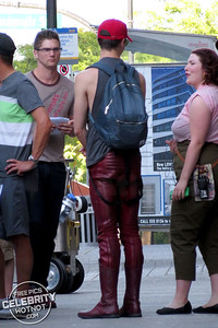 "Grant Gustin Wears A ""Stunts Canada"" Vest With Stunt Double Film Stunt Scenes For The Flash"