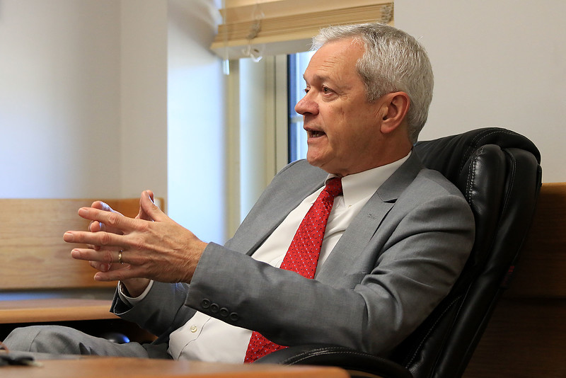 Superintendent Andre Ravenelle talks about his time  on the job in his office on Friday, October 5, 2018. SENTINEL & ENTERPRISE/JOHN LOVE