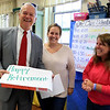 Superintendent Andre Ravenelle talks about his time  on the job in his office on Friday, October 5, 2018. Fourth grade teachers Kayleigh Pennel and Betsy Masciarelli honor him with a box of donuts. SENTINEL & ENTERPRISE/JOHN LOVE