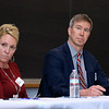Local School Districts came together on Tuesday night at Fitchburg State University to discuss state funding and what's needed in the region. there where other such meetings happening around the state. Fitcbhurg's School Superintendent Robert Jokela and Leominster's new School Superintendent Paula Deacon listen to other panelist as they addresses some of the issues they face in their districts. SENTINEL & ENTERPRISE/JOHN LOVE