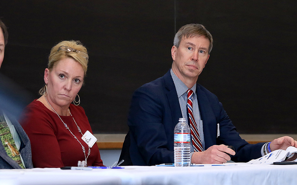 . Local School Districts came together on Tuesday night at Fitchburg State University to discuss state funding and what�s needed in the region. there where other such meetings happening around the state. Fitcbhurg\'s School Superintendent Robert Jokela and Leominster\'s new School Superintendent Paula Deacon listen to other panelist as they addresses some of the issues they face in their districts. SENTINEL & ENTERPRISE/JOHN LOVE