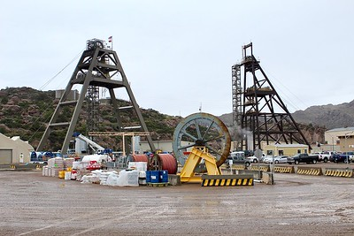 Headframes of the modern Number 10 Shaft and historic Number 9 Shaft at the Magma Mine East Plant (2018)