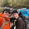 At the Stewart River kicking off our 2nd day on the trail. Monty was pretty stiff when we woke up, so YES, that is his red backpack hanging from my pack :) Poor little pooper!
