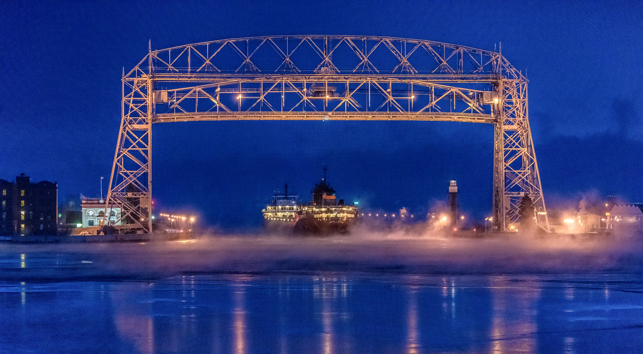 The Herbert C. Jackson departing Duluth Harbor into the sea smoke early Wed. Jan 4. 2017
