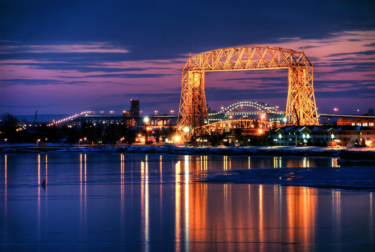 Duluth Aerial Lift Bridge and Blatnik bridge at twilight, Duluth MN