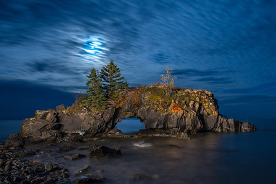 Hollow Rock moonlight and popcorn clouds