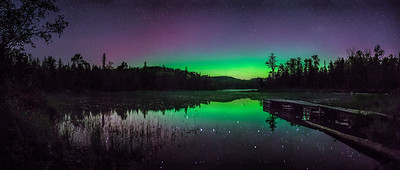Canadian Border Aurora Pano Fall 2014