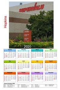2020 large calendar Supervalu sign WM1 year template