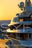 Superyacht detail at sunset