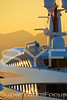 Superyacht detail at sunset