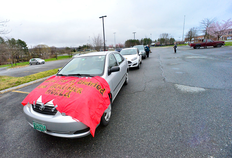 KRISTOPHER RADDER — BRATTLEBORO REFORMER<br /> Community groups and labor unions organize a car caravan through Brattleboro, Vt., to show solidarity with essential workers and lift up calls for crisis responses that focus on workers' health and welfare during International Workers Day on May 1, 2020.