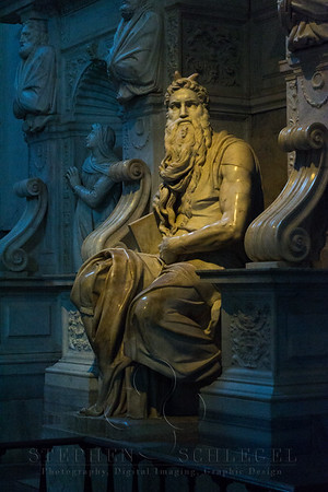 Michelangelo's Moses at the Tomb for Julius II  who is buried at St Peters. Michelangelo paused this work to paint the ceiling of the Sistine Chapel.