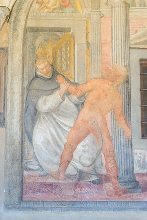 In the Great Cloister, (fresco by) Simone from Poggibonsi, San Domenico leads the devil in Chapter 8