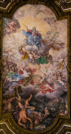 The Virgin Mary Triumphing over Heresy and the Fall of the Rebel Angels by Giovanni Domenico Cerrini. AKA Mary in heaven among the angels, and the fall from heaven of the evil angels led by Lucifer.