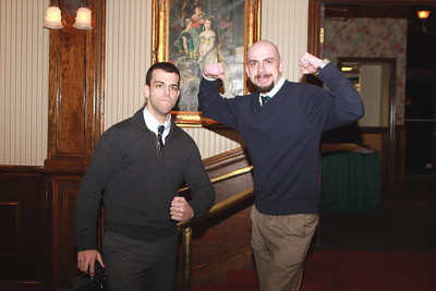 Tim Strickler,  academy director, and Pepper Ailor, program director, both of Freedom Alliance, pose for a photo while greeting dinner guests at the Freedom Alliance's military appreciation dinner on Feb. 12 at Charley's Other Brother restaurant in Mt. Holly, N.J. The Freedom Alliance, an educational and charitable organization that sponsors numerous program activities aimed at supporting and honoring U.S. military service members and their families, hosted the dinner as a way to show their support to 108th Wing Airmen that have deployed in the past year in support of operations Enduring Freedom and Iraqi Freedom. (U.S. Air Force photo by Staff Sgt. Armando Vasquez, 108th WG / PAO)