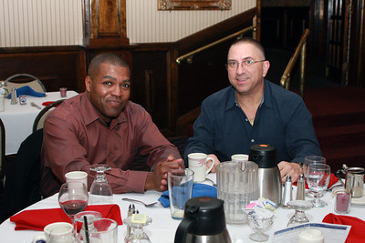 Chief Master Sgt. Vincent Morton, the 108th Wing command chief master sergeant and Lt. Col. Paul Novello, 108th Civil Engineers commander enjoy the dinner and dessert specials on Feb. 12 at Charley's Other Brother restaurant in Mt. Holly, N.J. The Freedom Alliance, an educational and charitable organization that sponsors numerous program activities aimed at supporting and honoring U.S. military service members and their families, hosted the dinner as a way to show their support to 108th Wing Airmen that have deployed in the past year in support of operations Enduring Freedom and Iraqi Freedom. (U.S. Air Force photo by Staff Sgt. Armando Vasquez, 108th WG / PAO)