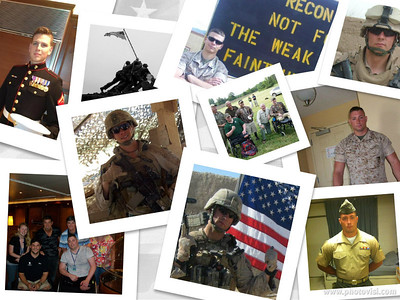 The Collage of Pictures of the Marine Corporals Christian and John who were featured in the Capitals Soldier Salute at the Capitals v Flyers game taking place on 1 FEB 2013.